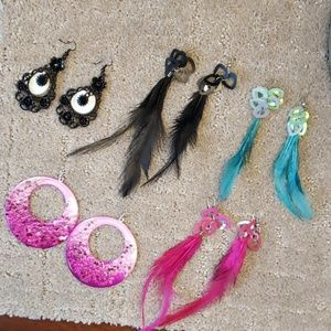 Earring Bundle Assortment  Pink, Black, Turquoise